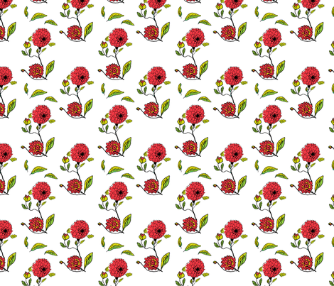 red dahlias white  fabric by khowardquilts on Spoonflower - custom fabric