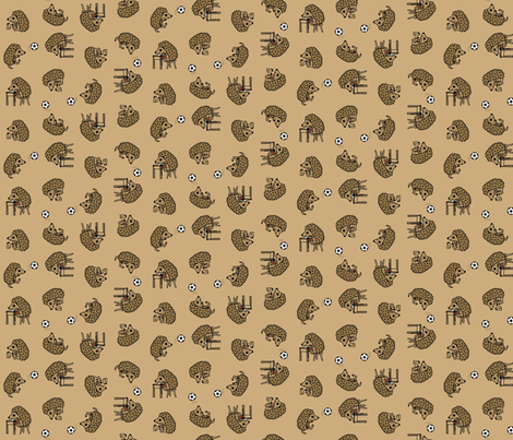 Hedgie's busy day - scattered - small fabric by victorialasher on Spoonflower - custom fabric