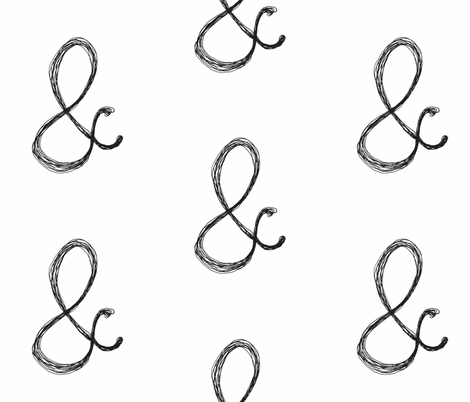 ampersand-typewriter b/w fabric by tagkari on Spoonflower - custom fabric