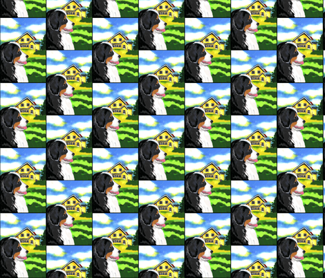 Bernese Mountain Dog and Yellow House  fabric by dogdaze_ on Spoonflower - custom fabric