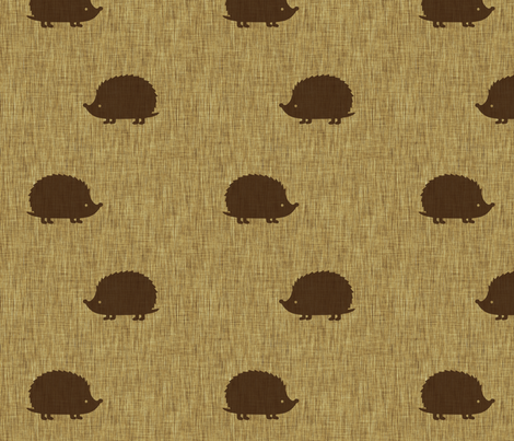 Hedgehogs on linen fabric by spacefem on Spoonflower - custom fabric