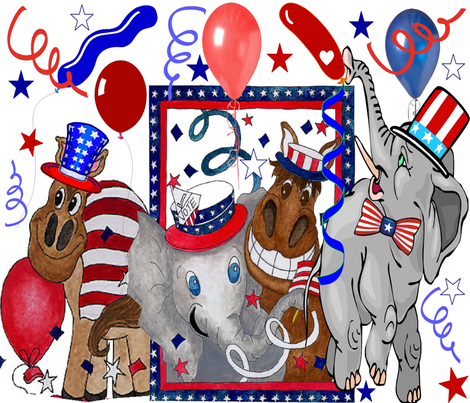ELECTION DAY DONKIES VS ELEPHANTS fabric by bluevelvet on Spoonflower - custom fabric