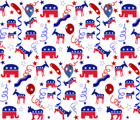 DONKEYS VS ELEPHANTS fabric by bluevelvet on Spoonflower - custom fabric