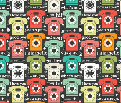Hello I Love You- Ring Ring fabric by cynthiafrenette on Spoonflower - custom fabric
