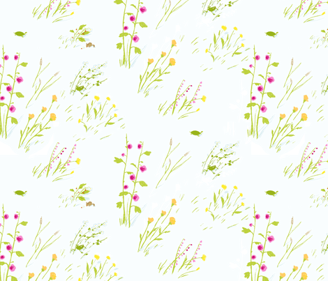 frog_meadow_cream fabric by heatherross on Spoonflower - custom fabric