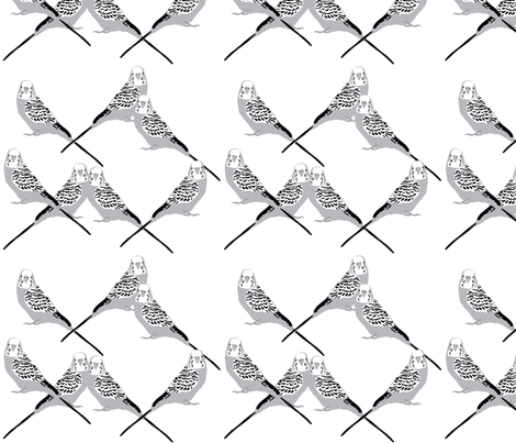 Parakeets - Grayscale fabric by owlandchickadee on Spoonflower - custom fabric