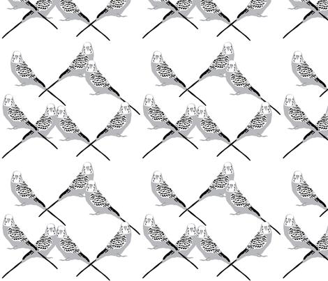 parakeets---gray fabric by owlandchickadee on Spoonflower - custom fabric