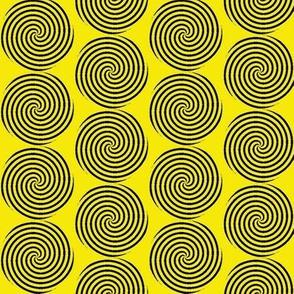 Black spirals, yellow background