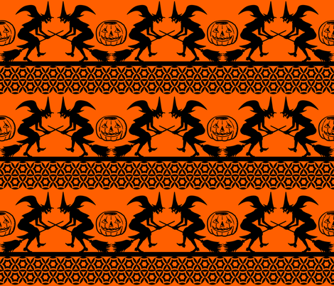 Bewitched ~ Black on Orange fabric by retrorudolphs on Spoonflower - custom fabric