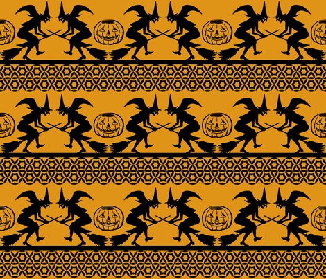 Bewitched ~ Black on Antique Gold fabric by retrorudolphs on Spoonflower - custom fabric