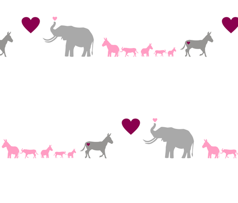 Donkey Elephant Love + kids on white fabric by smuk on Spoonflower - custom fabric