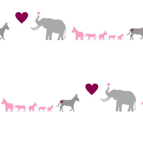 Donkey Elephant Love + kids on white