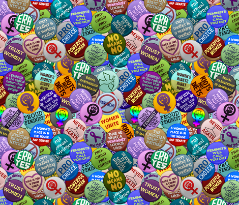 feminist buttons wallpaper   spacefem   spoonflower