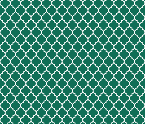 moroccan quatrefoil lattice in emerald fabric by spacefem on Spoonflower - custom fabric