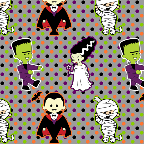Classic Monster Movie Kawaii Halloween Print fabric by risarocksit on Spoonflower - custom fabric
