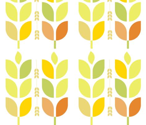 Mod Autumn Leaves and Grain fabric by wren_leyland on Spoonflower - custom fabric