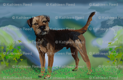 border terrier fabric