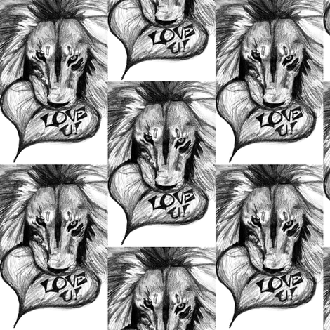 Lion Love fabric by pond_ripple on Spoonflower - custom fabric