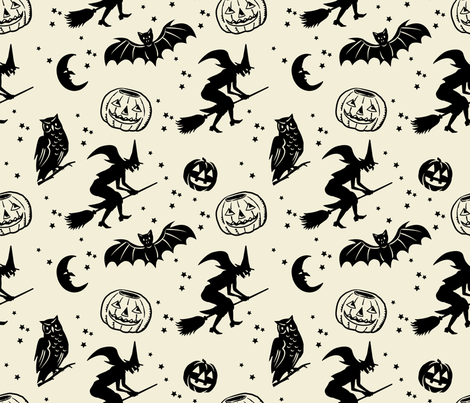 Bats and Jacks ~ Black on Cream fabric by retrorudolphs on Spoonflower - custom fabric