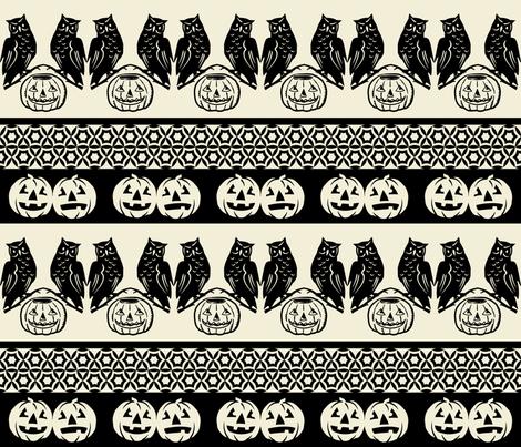 Who goes there? ~ Black and Cream fabric by retrorudolphs on Spoonflower - custom fabric