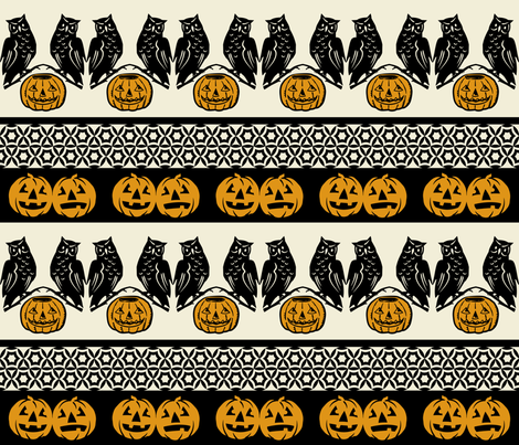 Who goes there? ~ Black and antique gold on cream fabric by retrorudolphs on Spoonflower - custom fabric