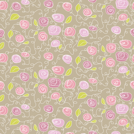 FloralPinkNGreen fabric by ghennah on Spoonflower - custom fabric