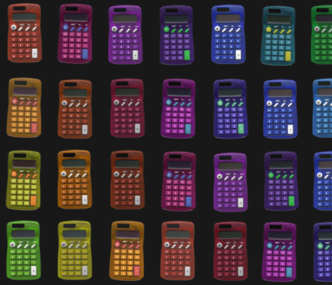 rainbow calculators on black fabric by weavingmajor on Spoonflower - custom fabric