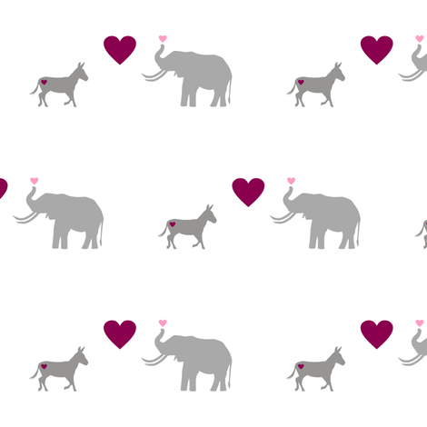 Donkey Elephant Love fabric by smuk on Spoonflower - custom fabric