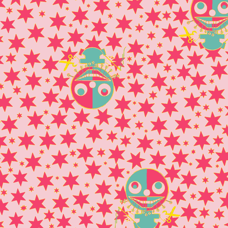 The little dressmaker pink fabric by susiprint on Spoonflower - custom fabric