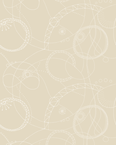 Cosmic Chatter - Beige fabric by penina on Spoonflower - custom fabric