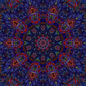 Blue and Red Abstract mandala Tile 2