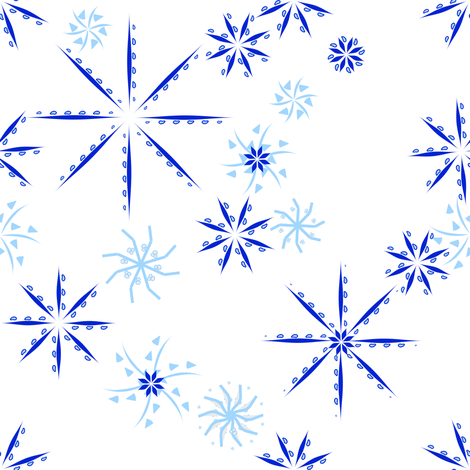 snowflakes blue fabric by mojiarts on Spoonflower - custom fabric