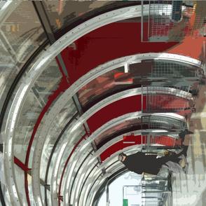 Ed shooting photos of the Elevator Shaft, Pompidou Center, Paris