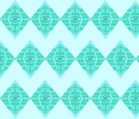 MAYAN SEA GREEN ZIG-ZAG fabric by bluevelvet on Spoonflower - custom fabric