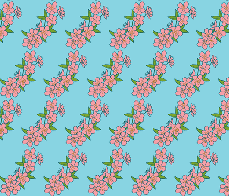 pink blossom/blue sky fabric by eat_my_sweet_dust on Spoonflower - custom fabric