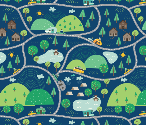 Lets_go_Camping_blue fabric by stacyiesthsu on Spoonflower - custom fabric