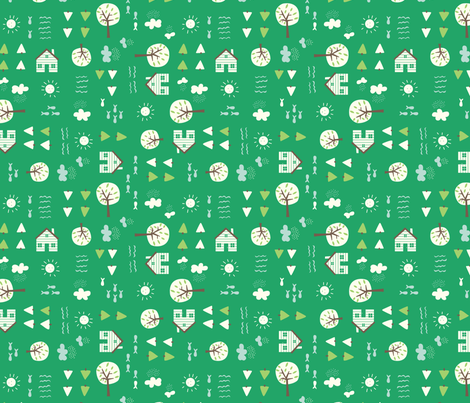 The_Cabin_green fabric by stacyiesthsu on Spoonflower - custom fabric
