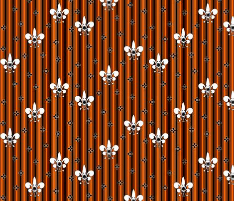 Halloween Fleur de Lis in pumpkin fabric by glimmericks on Spoonflower - custom fabric