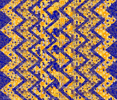 Klimt-esque zig zag cheater quilt or table cloth