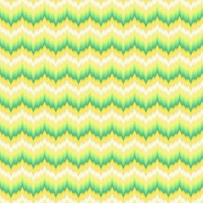 Bargello-work Flame-stitch Chevron Cheater Quilt in greens and golds