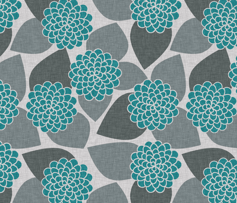 DAHLIA TEAL fabric by glorydaze on Spoonflower - custom fabric