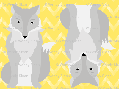 Grey Fox on Yellow Chevron