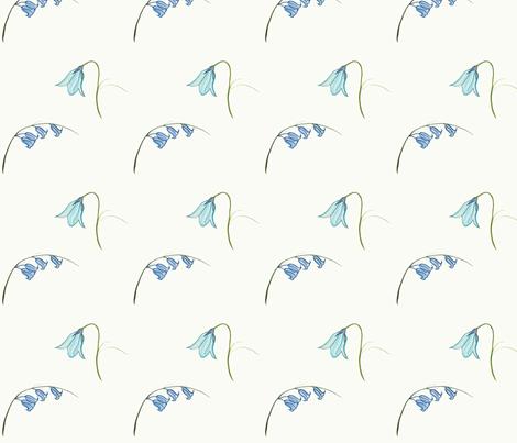 Bluebells, Cream fabric by de-ann_black on Spoonflower - custom fabric