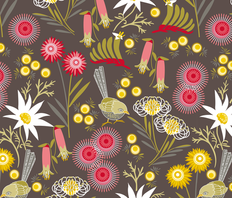 Wildflowers multi charcoal fabric by cjldesigns on Spoonflower - custom fabric