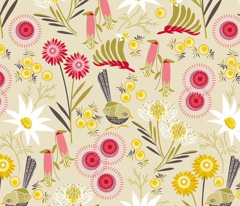 Wildflowers multi natural fabric by cjldesigns on Spoonflower - custom fabric