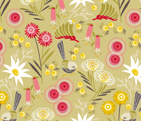 Wildflowers multi sage fabric by cjldesigns on Spoonflower - custom fabric