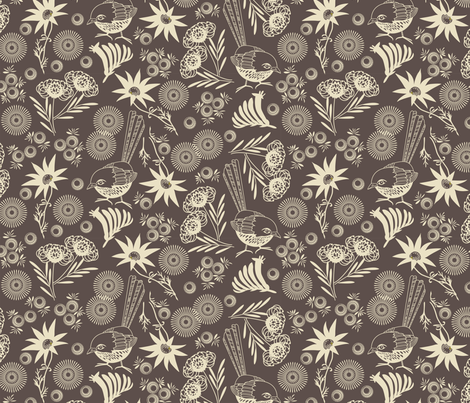 wildflower charcoal fabric by cjldesigns on Spoonflower - custom fabric