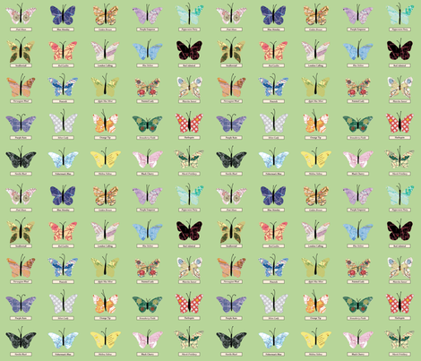 small_butterfly_green fabric by peppermintpatty on Spoonflower - custom fabric
