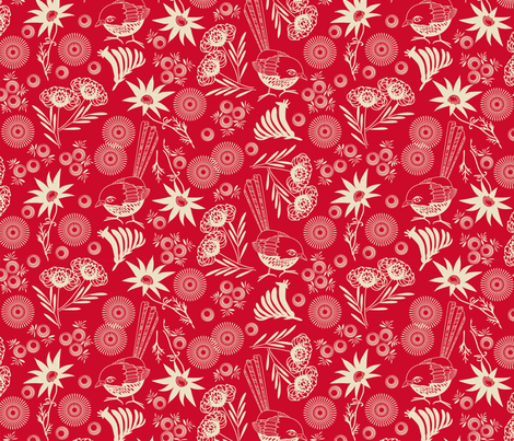wildflower red fabric by cjldesigns on Spoonflower - custom fabric