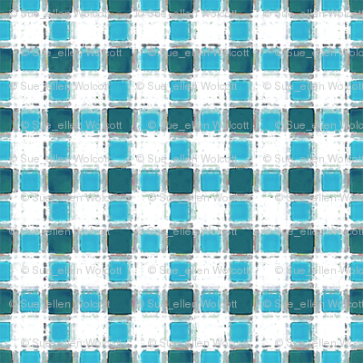 Aqua-Teal Painted Mini-Check (click here to zoom)